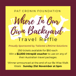 Where in our backyard travel raffle - Pat Cronin Foundation